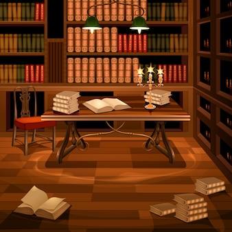 本棚付きの古代の部屋