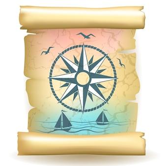 Древний свиток с винтажным компасом и лодками