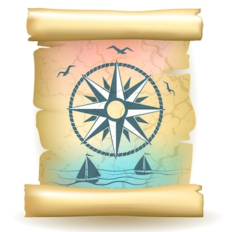 Ancient scroll with vintage compass design and boats
