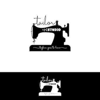 仕立て屋のための古代ミシンのロゴ