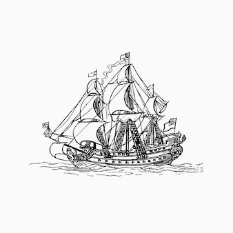白い背景の上の古代の船