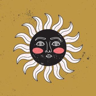 金色の背景に様式化されたモダンなスタイルの顔を持つ古代の太陽。 1つの連続したアートラインの神聖で神秘的な古いシンボル。ヴィンテージの紋章。現代的な手描きイラスト
