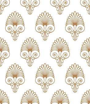 古代の渦巻き古いギリシャ語フラットシームレスな金色の飾りパターンテクスチャ背景