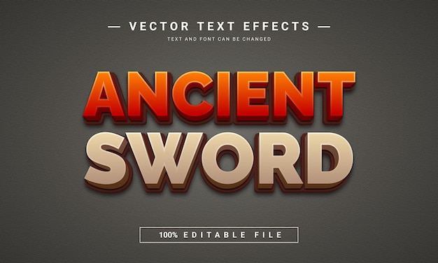 Древний меч 3d редактируемый текстовый эффект