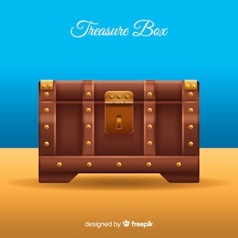 Ancient treasure box background with flat design
