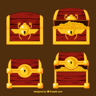 Ancient treasure box collection with flat design