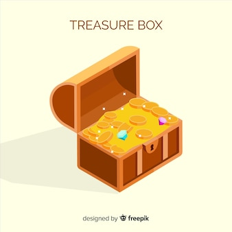 Ancient treasure box with flat design