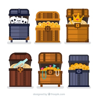 Ancient treasure chest collection with flat design