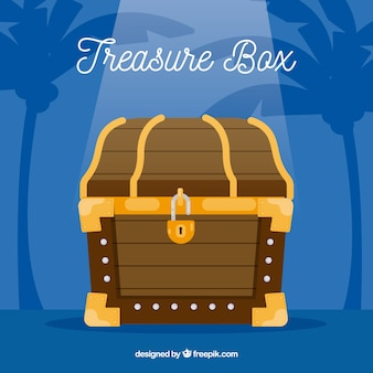 Ancient treasure chest with flat design