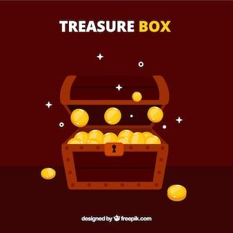 평면 디자인의 고대 보물 상자