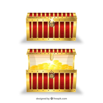 Ancient treasure chest with realistic design