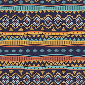 Ancient tribal hand drawn seamless pattern stripes ethnic symbols