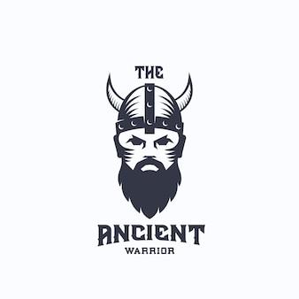 古代の戦士のロゴのテンプレート。バイキングのシンボル。