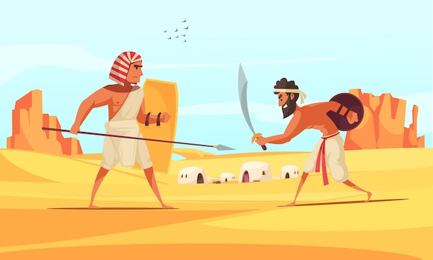 フラットで武器で砂漠で戦う古代の戦士