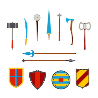 Ancient weapon and medieval shields set. melee, cold weapon.