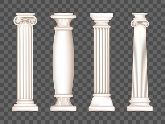 Ancient white marble greek columns