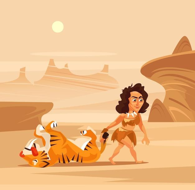 고대 여자 캐릭터 사냥꾼 끌기 먹이 그림