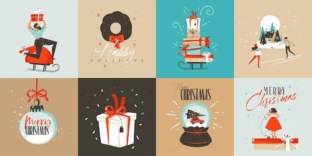 И нарисованные абстрактные забавные счастливого рождества мультяшные иллюстрации шаблон поздравительных открыток и подарочные коробки, люди и рождественская елка на белом фоне