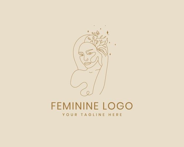 그리고 그려진 여성스러운 여성의 아름다움 최소한의 얼굴과 꽃 식물 로고 템플릿 메이크업 스파 살롱