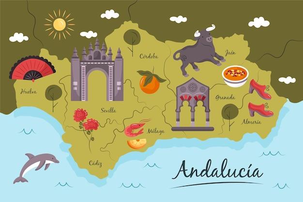 Карта андалусии с концепцией достопримечательностей