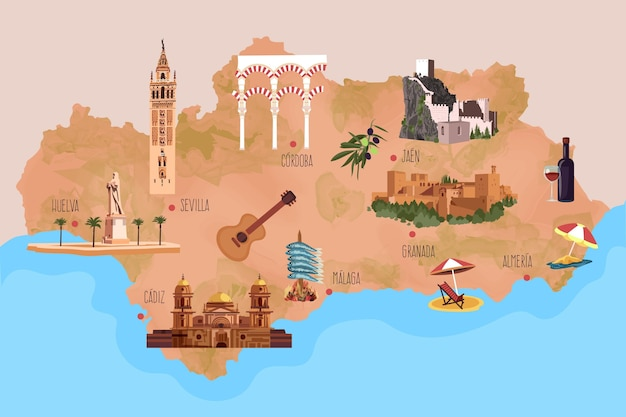 Andalusia map with landmarks illustrated