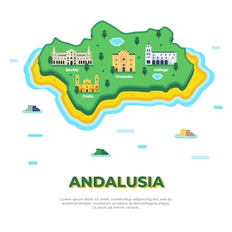Andalusia map with landmarks