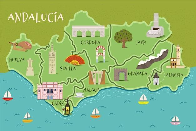 Карта андалусии с достопримечательностями