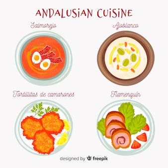 Andalusian food dishes set
