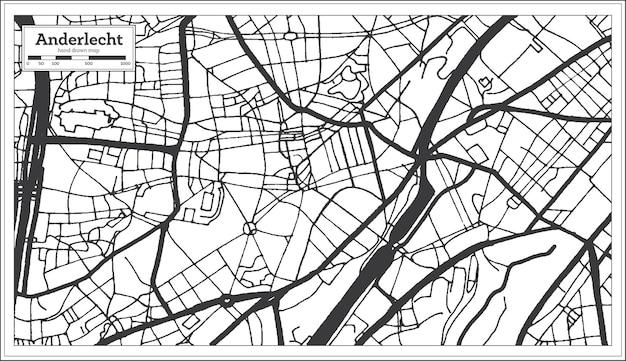 Карта города андерлехт бельгия в черно-белом цвете. контурная карта. векторные иллюстрации.