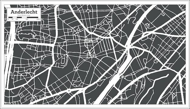 Карта города андерлехт в стиле ретро. контурная карта. векторные иллюстрации.