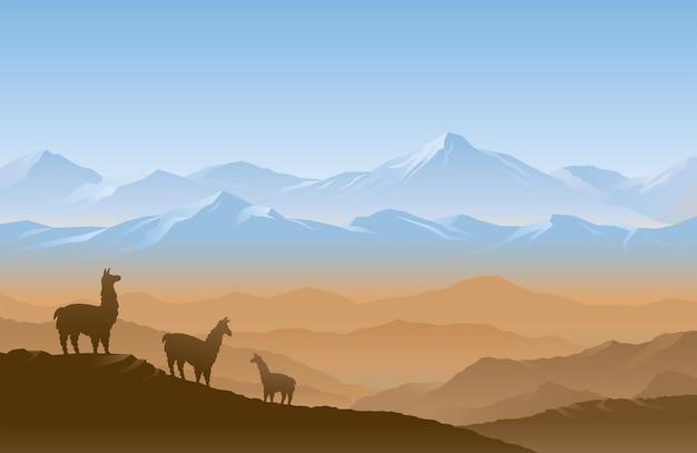 Анды горный хребет пейзаж пейзаж фон