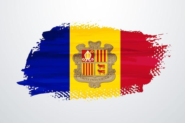 Andorra brush paint flag