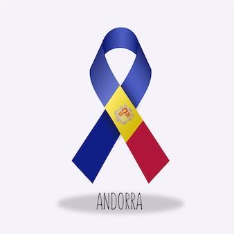 Andorra flag ribbon design
