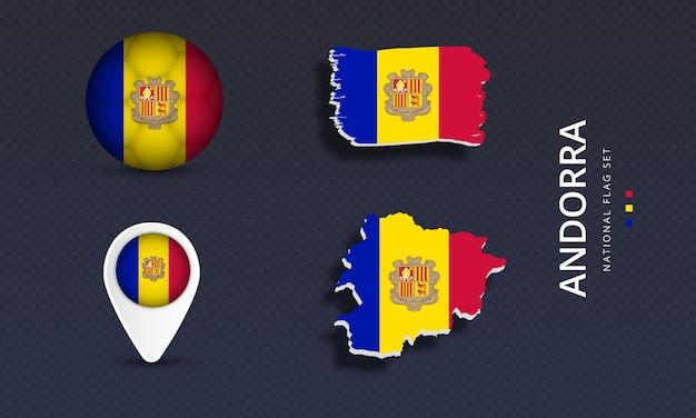 Andorra national country wave flag set