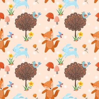 かわいいオオカミandrabbitのフォレスト内のシームレスパターン。