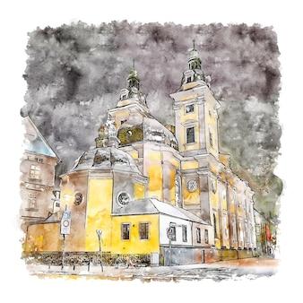 Andreaskircheドイツ水彩スケッチ手描きイラスト