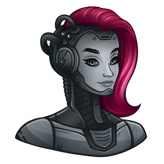 Android girl icon for space slot game
