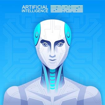Android、ロボット、人工知能の概念。図