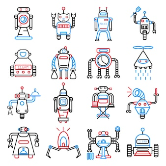Android robots set isolated on white