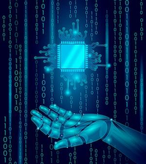 Робот android рука держать процессор процессор, низкополигональная линия полигональных частиц