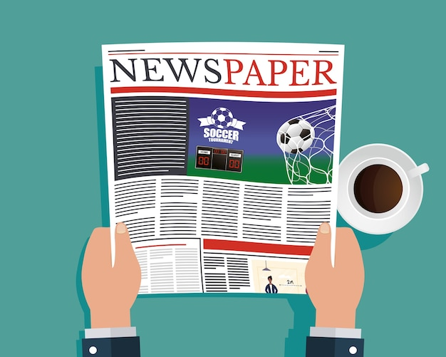 Ands person reading news paper and drinking coffee illustration
