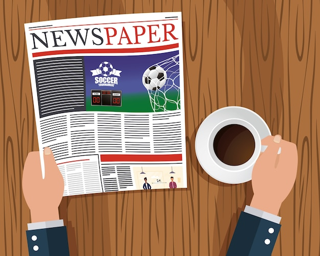 Ands person reading news paper and drinking coffee