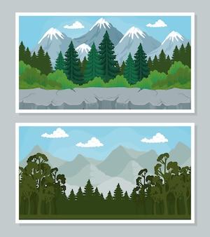 소나무의 andscape 배너 디자인, 자연 및 야외