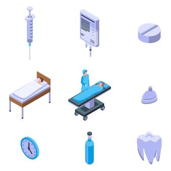 Anesthesia icons set, isometric style