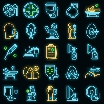 Anesthesia icons set. outline set of anesthesia vector icons neon color on black Premium Vector