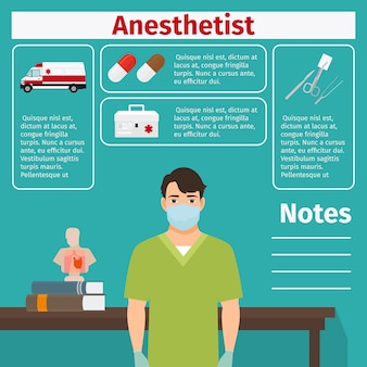 Anesthetist and medical equipment template