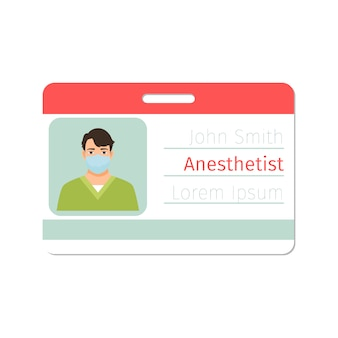 Anesthetist medical specialist card