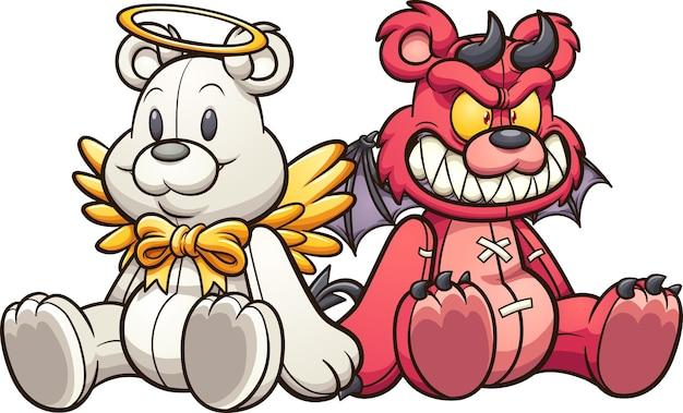 座っている天使と悪魔のテディベア