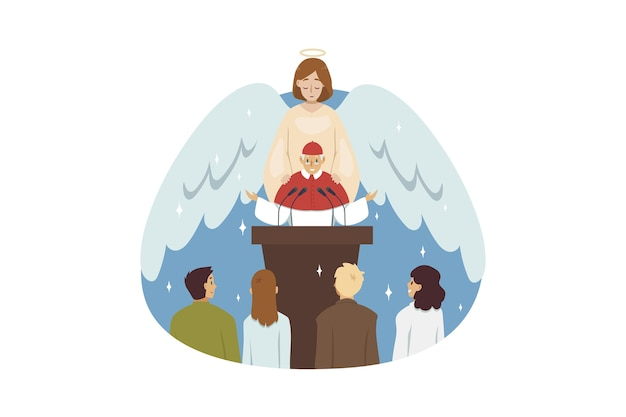 Angel biblical religious character blessing old man priest preacher reading sermon to people parish flock in church. .