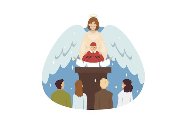 Ангел библейский религиозный персонаж благословляет старика священника проповедника, читающего проповедь к приходской пастве людей в церкви. .